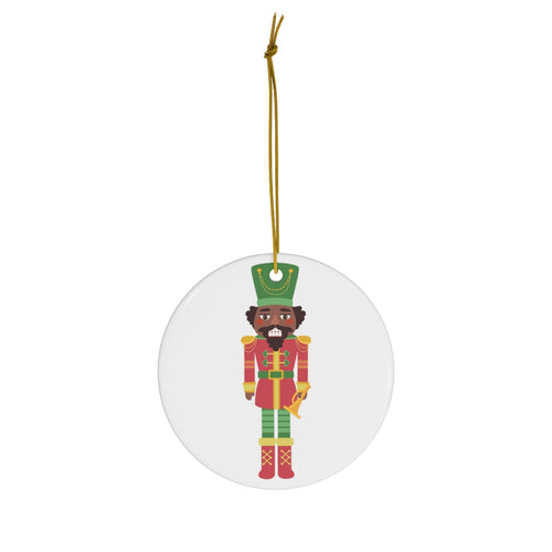 Chocolate Nutcracker Round Ceramic Ornament _c