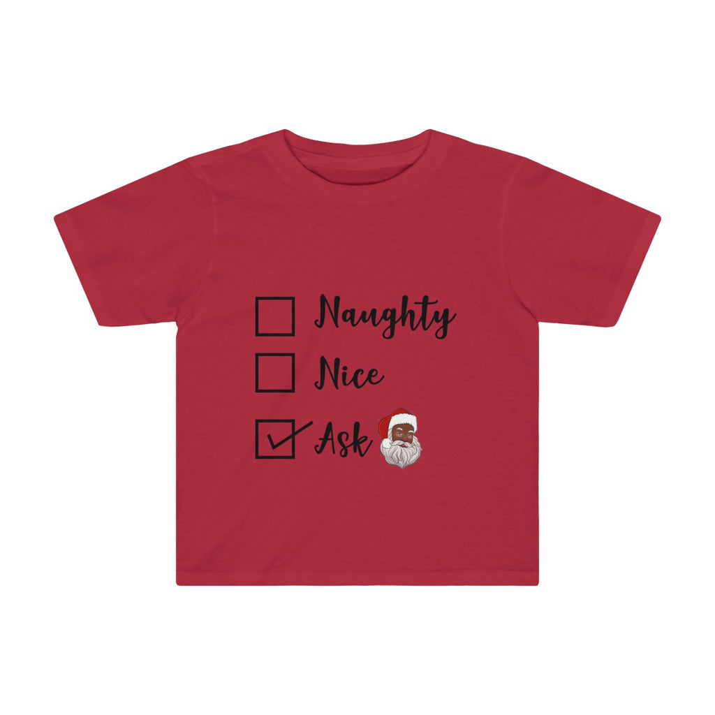 Naughty or Nice Ask Black Santa Toddler Tee