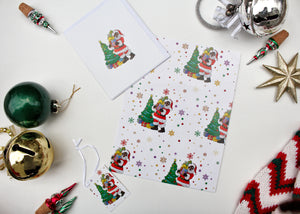 Black Santa Claus with Snow Flakes Wrapping Paper Kit