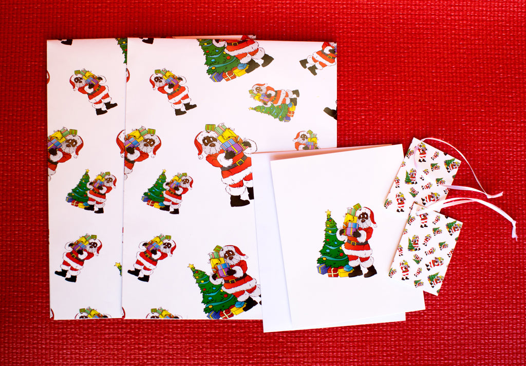 Black Santa Wrapping Paper Kit