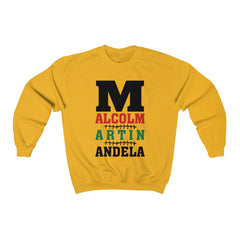 M is for Malcolm, Martin, & Mandela  Crewneck Sweatshirt