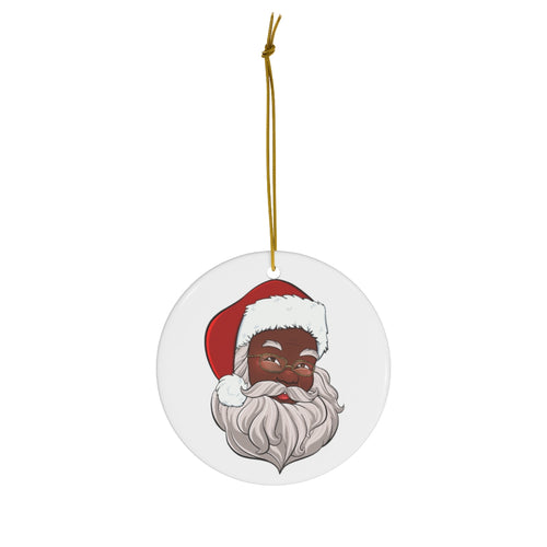 Black Santa Claus Ceramic Ornament