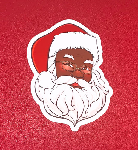 Black Santa Claus Die Cut Sticker