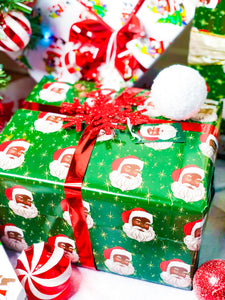 Black Santa Wrapping Paper Kit (Green)