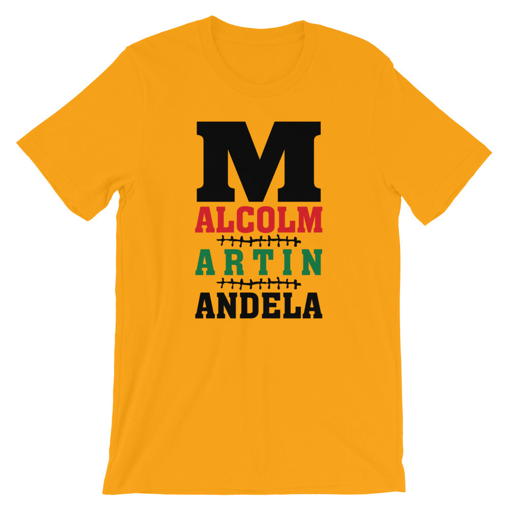 M is for Malcolm, Martin, & Mandela Short-Sleeve Unisex T-Shirt