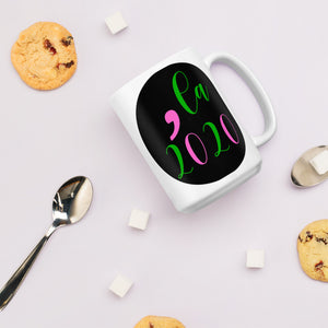 Kamala; Comma La Pink and Green Mug