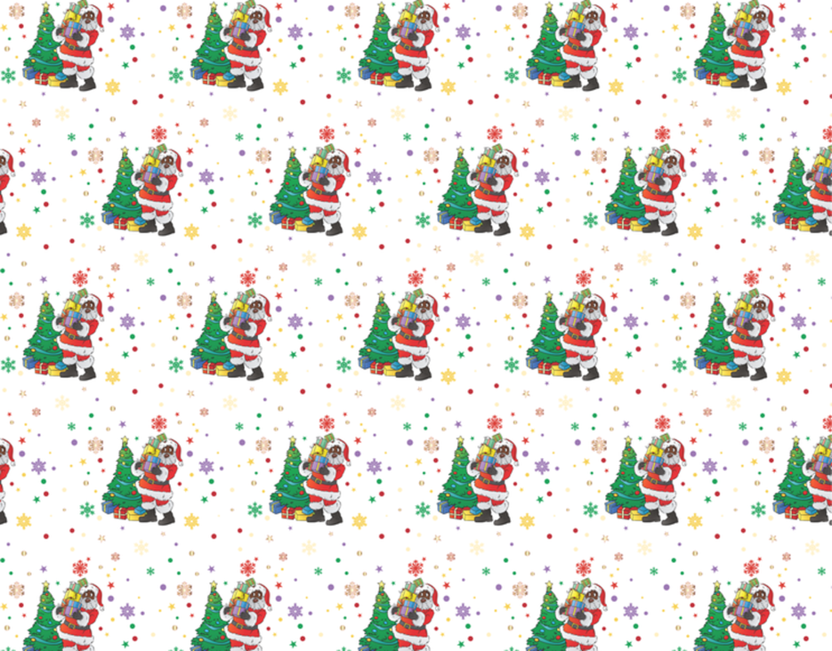 Black Santa with Snow Flakes Wrapping Paper Kit