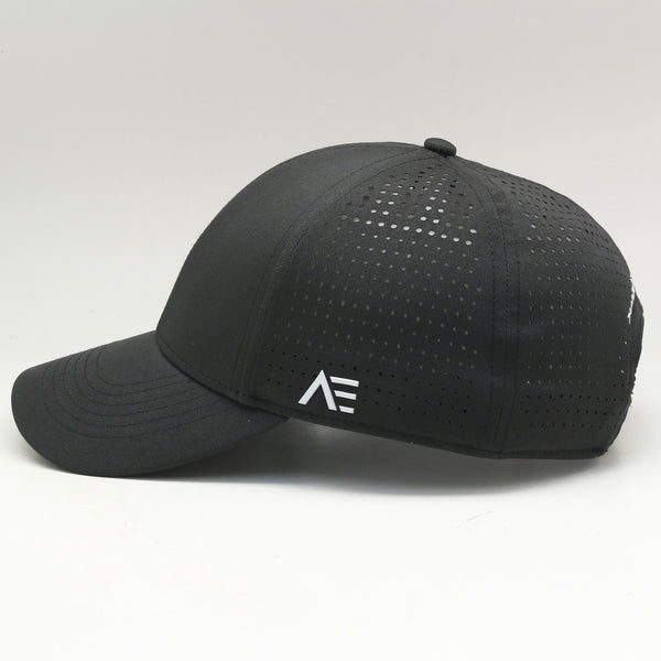 "Performance cap featuring ""AE"" logo & ""Pursue Excellence"" motto"