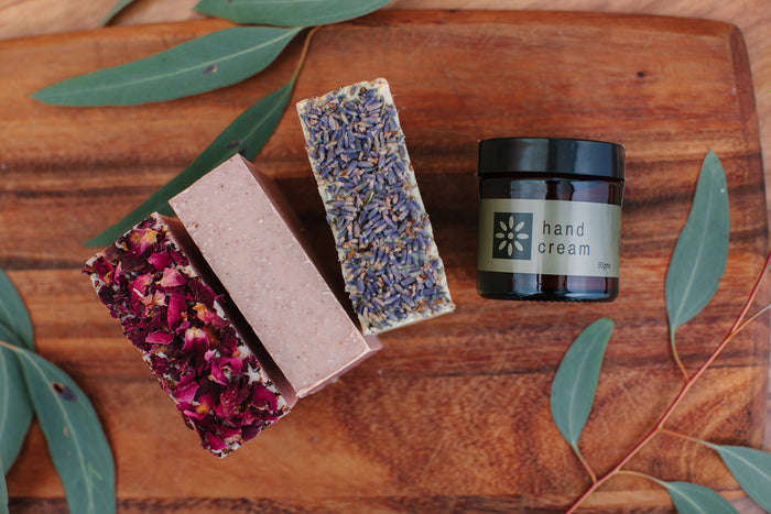 Hand Cream & 3 Soap Bars Gift Pack - Floral - Soothe Essential Natural Products