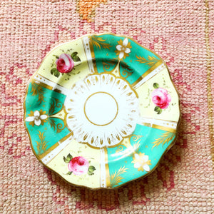 Vintage Green/Yellow Rose Plate