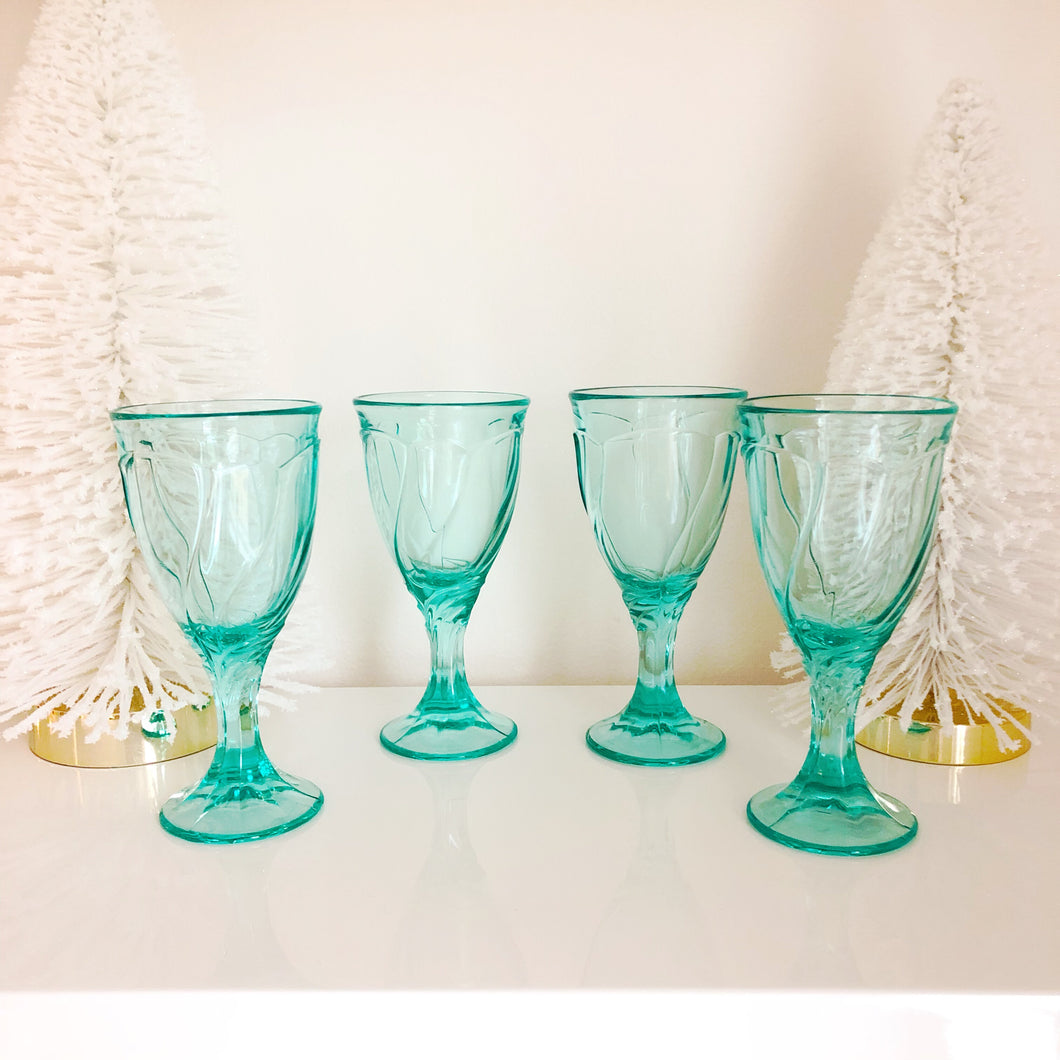 Aqua Noritake Sweet Swirl Glasses