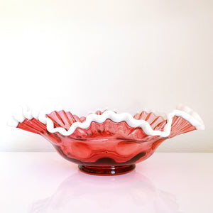 Fenton Cranberry Thumbprint Bowl
