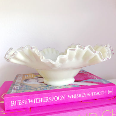 Fenton Custard Glass Silvercrest Bowl