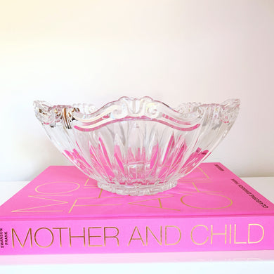 Large Oval Crystal Serving Bowl