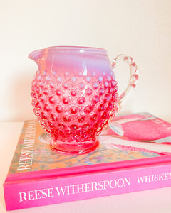 Sm Cranberry Hobnail Pitcher