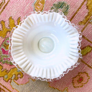 White Milk Glass Silver Crest Bowl Lg