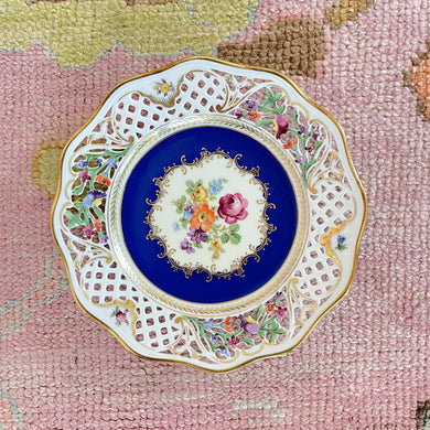 Royal Blue Floral Reticulated Plate