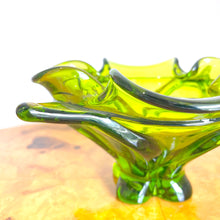 Green Murano Foot Bowl