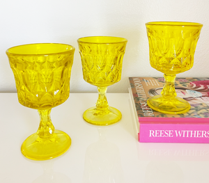 Yellow Retro Wine Glasses