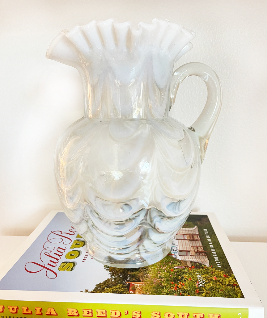 White Opalescent Drapery Pitcher