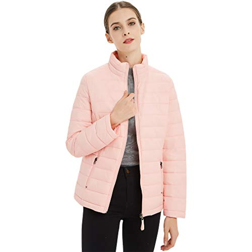 Plusfeel Women's Ski Jacket Women Outdoor Cycling Slim Fit Short Down Packable Jacket Coat Parka Puffer Jacket Women, Pink, XXL