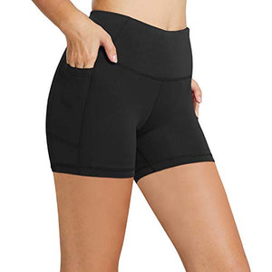 "BALEAF Women's 5"" High Waist Workout Yoga Running Compression Exercise Volleyball Shorts Side Pockets Black M"