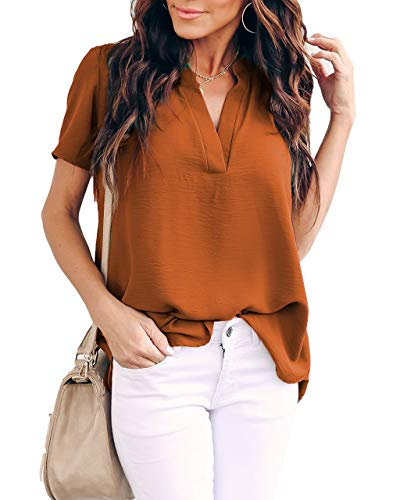 Allimy Women Summer Short Sleeve Shirts Casual V Neck Chiffon Tops and Blouses Medium Orange