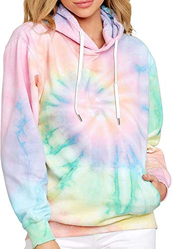 EFAN Women's Hoodies Tops Tie Dye Printed Sweatshirt Long Sleeve Pullover Loose Drawstring Hooded with Pocket Green
