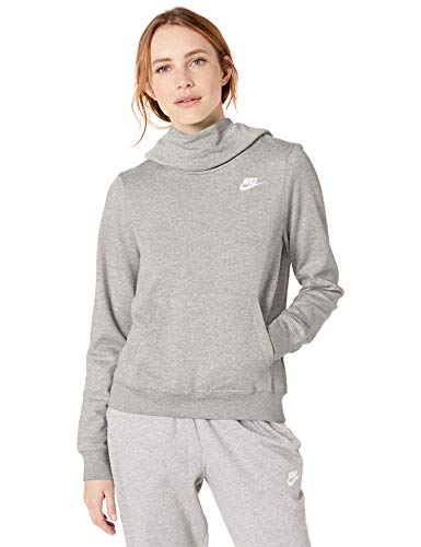 Nike Women's NSW Fleece Hoodie Varsity, Dark Grey Heather/Dark Steel Grey, Large