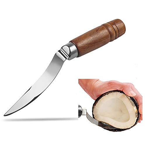 Coconut Opener Tool Set for Young & Mature Coconuts with Hammer Stainless Steel Knife – Coconut Meat Removal Scraper Knife - Super Safe & Easy (Remover Knife)