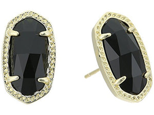 Kendra Scott Ellie Stud Earrings for Women, Fashion Jewelry, 14k Gold-Plated, Black Opaque Glass