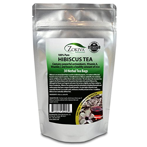 Hibiscus Tea Bags 100% Pure (30 Premium Bags) Bursting with All-Natural antioxidants