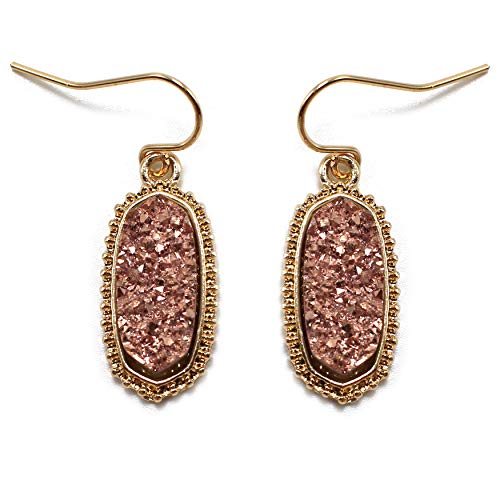 Miracle Collection Faux Druzy Drop Dangle and Stud Fashion Earring for Girls and Women (COPPER)