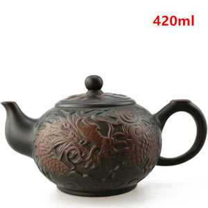 Yixing Zisha (Purple Clay) Chinese Tea Pot With Dragon Design - 400ml