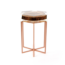 Lucite table with copper legs and wood - Double Noir