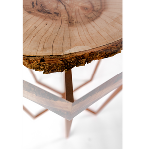 Acrylic table top with copper legs