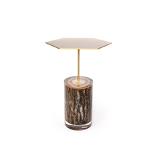 Lucite and wood table with metal top - Double Noir