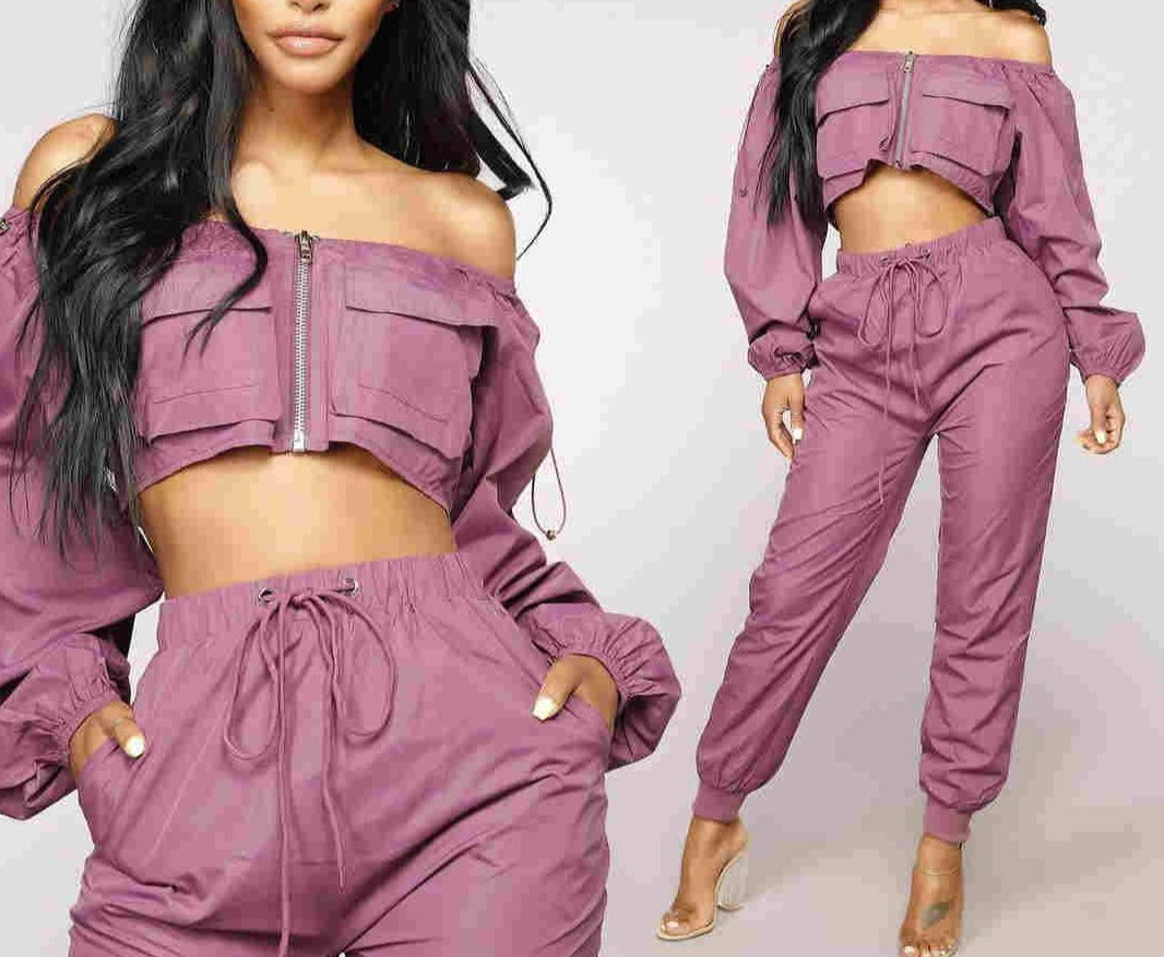 "New Stylish ""Street Wear Glam"" Crop Puffy Top + Cargo Harlem Pant Sets"