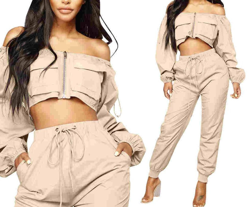 "Stylish ""Street Wear Glam"" Crop Puffy Top + Cargo Harlem Pant Sets"