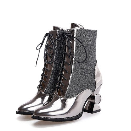 "Runway Metallic ""Ms Mae"" Retro Sparkle Ankle Boots"