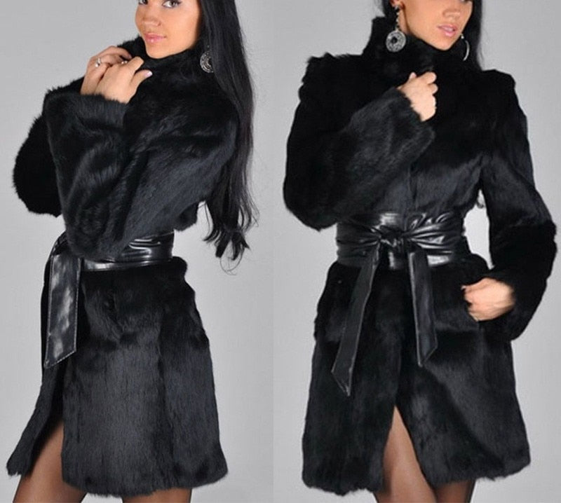 Elegant Beautiful Warm Stylish Belted Faux Fur Coat Plus Size In Stock