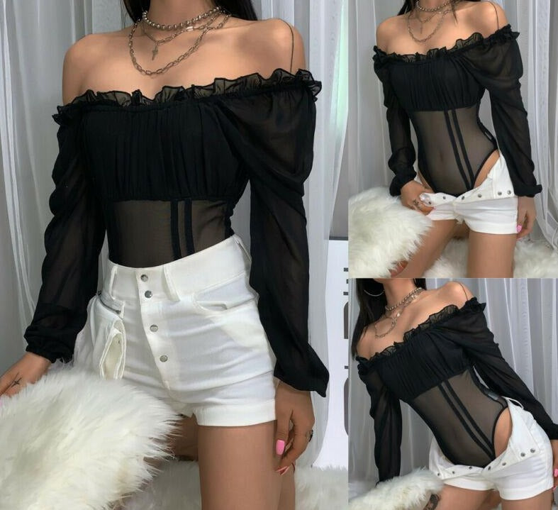 "Exclusive Hot New ""Speechless"" Off Shoulder Mesh Bodysuit"