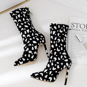 "Fabulous ""Evolve"" Denim High Heel Stiletto Ankle Boots Pointed Toe"