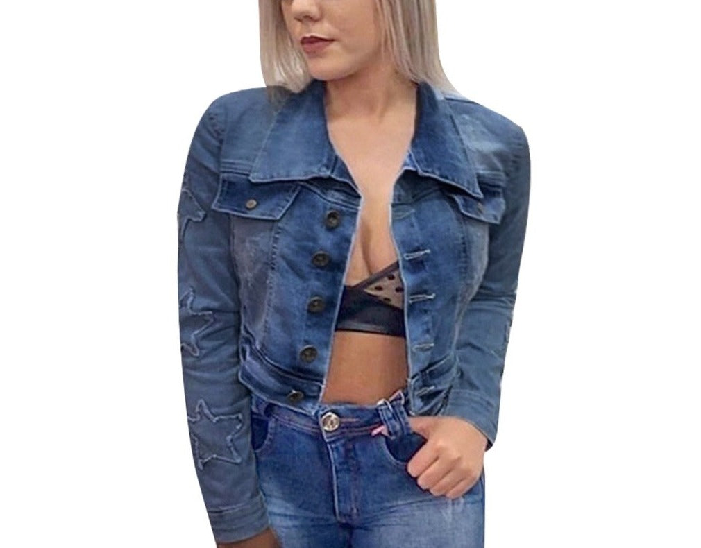 "New Fabulous ""Star Stats"" Vintage Cropped Denim Jacket"