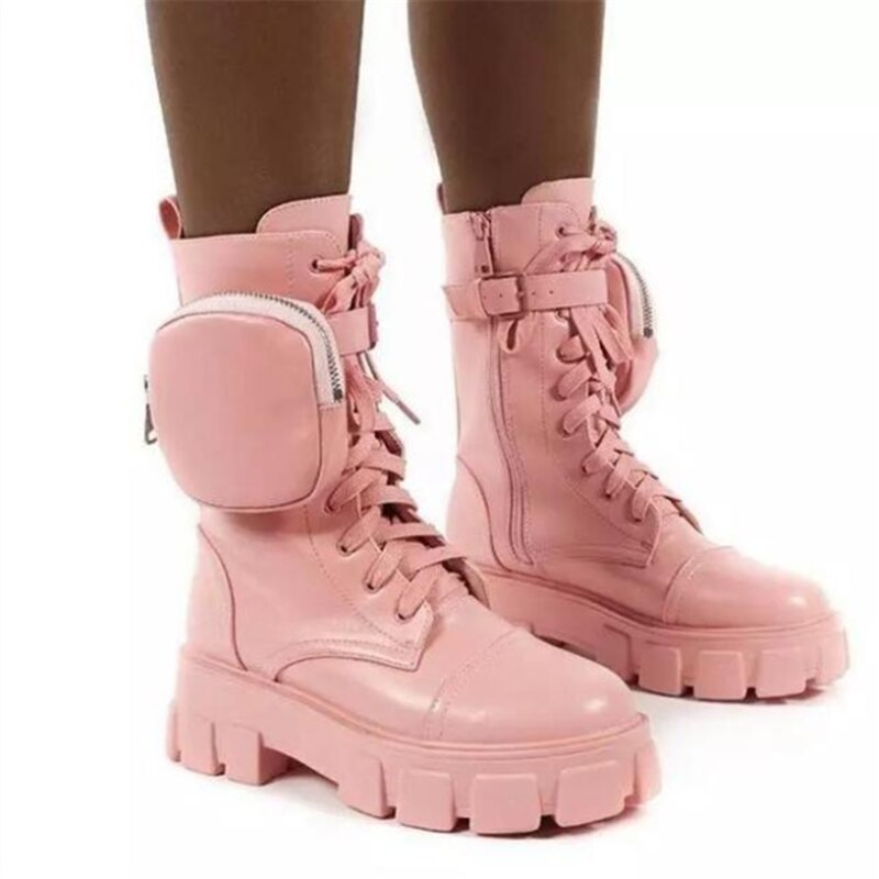 Hot New Fabulous Chunky Ankle Pouch Hiker Boots