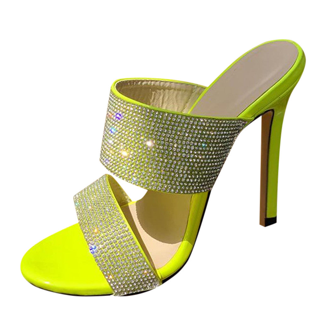 "Exclusive ""Diamond's Are A Girls Best friend"" Rhinestone High-heeled Mule Sandals"