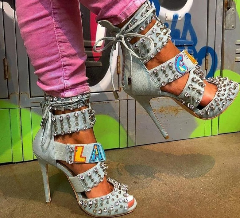 "One Of A Kind New Diamond ""Your Name"" Denim Runway Designer Caged Heels"