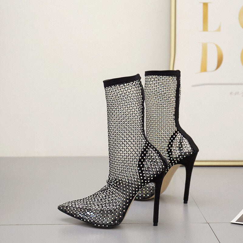"New Bling Rhinestone ""Ride Or Die Chick"" Fishnet PVC High-Heels"