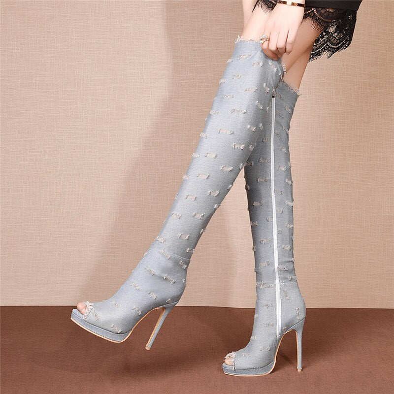 Stylish Ripped Open Toe Over-Knee Denim Boots Sizes 4-15 In Stock