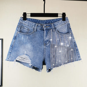 "New Gorgeous ""Spark My Fire"" Rhinestone Stonewashed Denim Shorts"